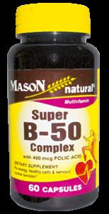Vitamina Súper B-50 con 400 MCG de ácido fólico